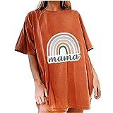 Routinfly Camisetas de verano para mujer, camisetas de manga corta para mujer, estilo informal, cuello redondo, estilo retro, suelto, unisex
