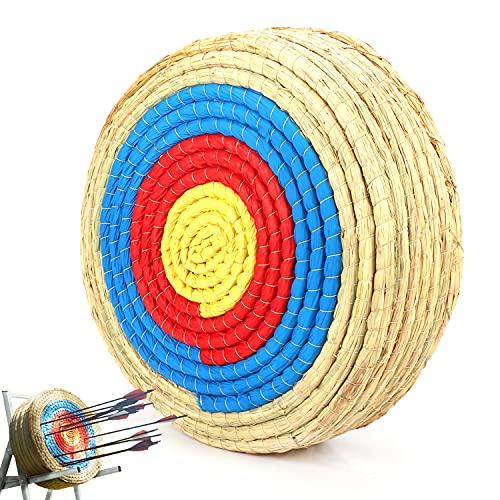 aleawol 55x55x15 cm Outdoor-Shooter Bogen Bogenschießen Ziel 7 Schichten 20 Zoll Traditionelles handgemachtes Stroh rundes Ziel Festes Stroh Rundbogen Bogenschießen Ziel Stroh Ziel