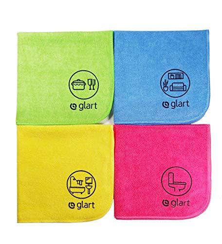 Glart 4444 4 Panni in Microfibra Multiuso con Pittogrammi, per Ambienti Domestici, Cucina, WC, Bagno, Giardino e Ufficio, Multicolore, 40 x 40 cm