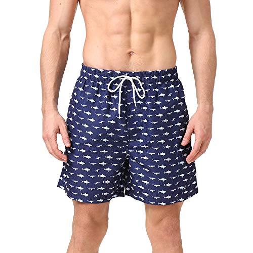 anqier Badeshorts für Männer Badehose für Herren Jungen Schnelltrocknend Schwimmhose Strand Shorts,Kleiner Fisch,M(EU)-MarkeGröße:L-Taille 80-90cm