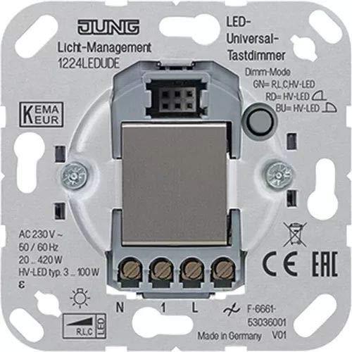 Jung 1224 UDE LED-Universal-Tastdimmer, 1 Stück