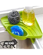 INOVERA (LABEL) ABS Wash Basin Sponge Soap Scrub Brush Storage Holder Rack with Suction Cup (Green)