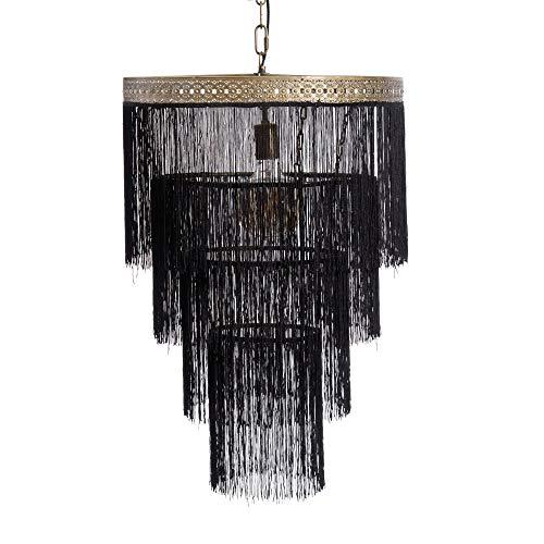 Lámpara de techo vintage con flecos de metal negra y dorada, de Ø 50x76 cm - LOLAhome