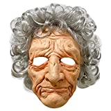 Old Lady Mask with Silver Curls Hair, Realistic Human Head Old Woman Grandmother Grandma Latex Mask Cosplay Props