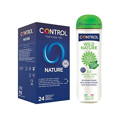 Control Natural Mix cofanetto di 24 preservativi classici e gel massaggio 3 in 1 con 99,4% di ingredienti ad origine naturale