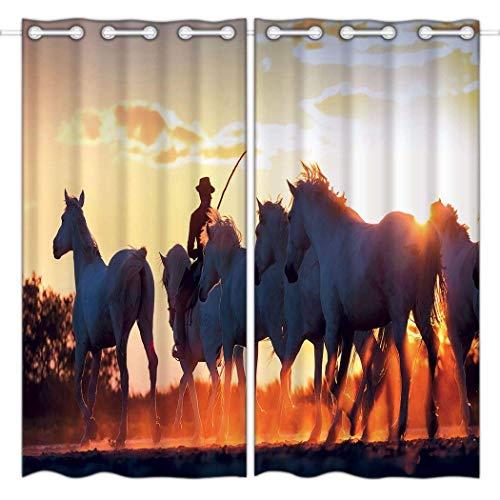 Vorhänge 52x72 Zoll Top Tülle Vorhänge (2 Panels) Fenster Innendekoration Rustikale weiße Pferde Western Steed Sunset