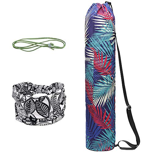WANYIG Yogamattentasche aus Canvas Taschen für Yogamatten für Frauen Tragetasche Yogamatte mit Bedrucktes Haarband und Carry Sling(Farbe 2)