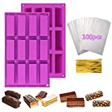 Sycle Circle 2 unidades 12 cavidades rectangular Granola Bar molde de silicona + 100 pieza...