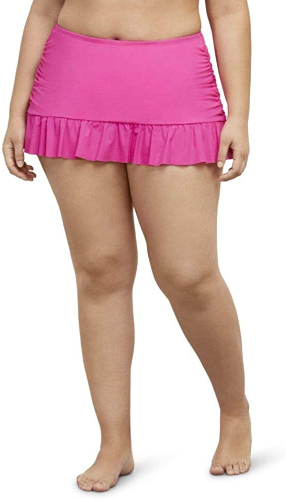 Kenneth Cole REACTION Women's Plus Size Skirted Hipster Bikini Swimsuit Bottom
