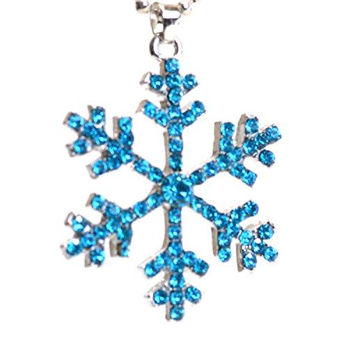 Collana a catena con ciondolo a forma di fiocco di neve, con cristalli azzurri, colore: argento, Metallo, colore: blu/argento