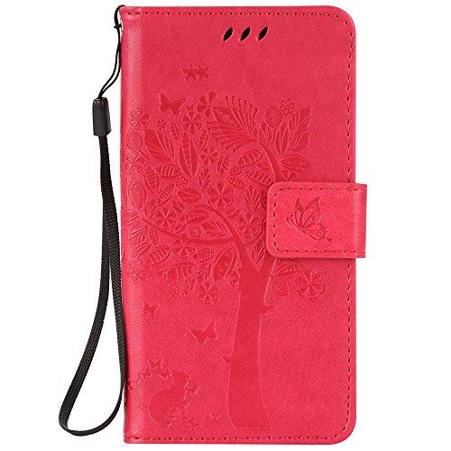 C-Super Mall-UK Asus Zenfone Go ZB452KG (4.5 inch) hülle: Geprägte Baum Katzen-Schmetterlings-Muster PU-Leder-Mappen-Standplatz -Schlag-hülle für Asus Zenfone Go ZB452KG (4.5 inch)(Rose rot)