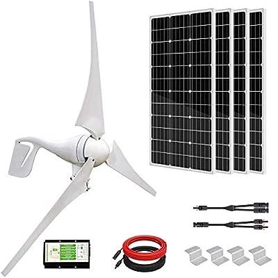 ECO-WORTHY 800W 12V/24V Solar Wind Turbine Generator Kit: 400W Wind Turbine+ 2pcs 195W Solar Panel for Homes Boat Charge Battery