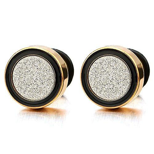2 Oro Negro Enchufe Falso Fake Plug, Pendientes de Hombre Mujer, Aretes, Acero Inoxidable, 12MM