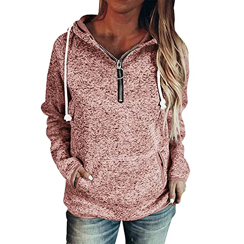 Pmmqrrkuu Active Sweatshirts Women's Causal 1/4 Zip Pullover Long Sleeve Collar Sweatshirts Solid Activewear Running Jacket