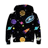 Galaxy Planet Hoodies for Boy Girls Cool Funny Hip Hop Hooded Sweatshirt 3D Graphic Sports Pullover Sweatshirts with Pockets 5-6X