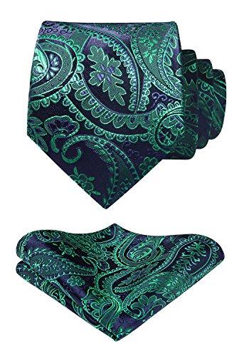 HISDERN Herren Krawatte Blumen Paisley Krawatte & Einstecktuch Set Schwarz Grun