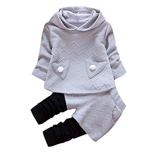 Kobay Kleinkind Kinder Baby Mädchen Outfits Lange Ärmel Kapuzen-T-Shirt Tops + Hosen Kleidung Set (110/4Jahr, Grau)