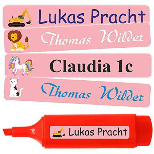 INDIGOS UG® Namensaufkleber Sticker - 51x7 mm - 10-1000 Stück für Kinder, Schule und Kindergarten - Stifte, Federmappe, Lineale - lustige Motive