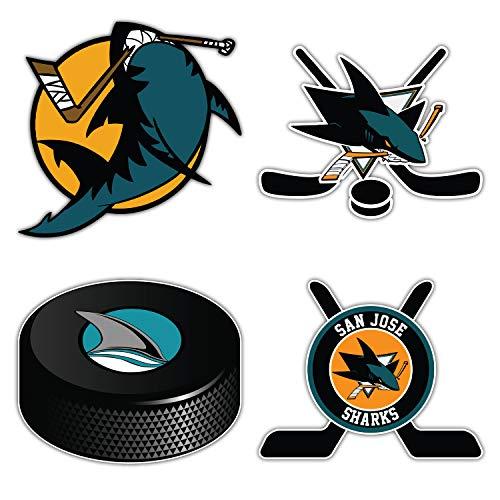 skyhighprint Autoaufkleber, Motiv Sharks Hockey – San Jose – Set mit 4 Aufklebern für die Stoßstange, 12,7 cm lange Seite