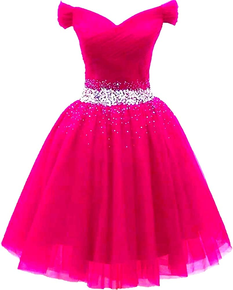 1980s Clothing, Fashion | 80s Style Clothes Dydsz Womens Off Shoulder Prom Dress Short Homecoming Party Dress with Sleeve A Line Tulle $69.99 AT vintagedancer.com
