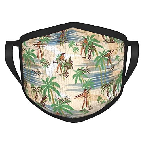 Vintage Aloha Hawaii Strand Sommer Masken Schwarze Rand Gesichtsmaske für Jungen Mädchen Wiederverwendbare Maske Gesichtsbedeckung Outdoor Sturmhaube Staub Mund Abdeckung