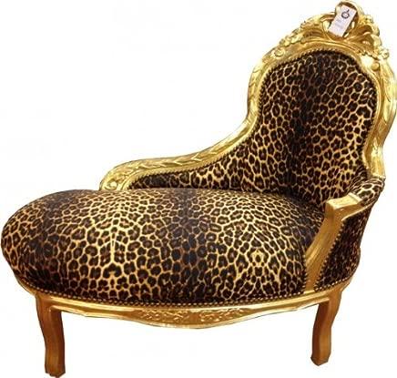 Casa-Padrino Baroque Kids Chaise Leopard Gold Baroque Furniture