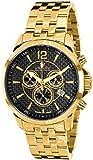 LOUIS XVI Reloj de Pulsera Athos Pulsera de Acero Inoxidable Oro con cronógrafo de Carbono Real Acero Inoxidable Cuarzo analógico para Hombres 800