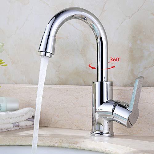 Homelody Wasserhahn Küche, 360° Drehbar Wasserhahn Bad Armatur für Küche oder Badezimmer, Küchenarmatur, Waschtischarmatur Waschbecken, Einhebel Mischbatterie Spültischarmatur Messing Chrom