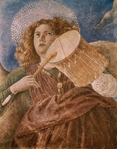 Posterazzi Music-Making Angel with Drum c.1480 Melozza da Forli (1438-1494/Italian) Fresco Vatican Museums and Galleries Rome Italy Poster Print (18 x 24)