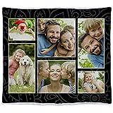 Manta Personalizada con Foto. Regalos Personalizados con Foto. Manta Polar para sofá y Cama. Tejido Certificado Oeko-Tex. Tamaño aproximado 140x125cm. Manta cálida. Negra