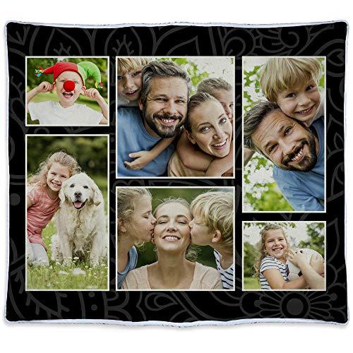Manta Personalizada seis Fotos Regalos Personalizados con Foto. Manta Polar Personalizada 1 Cara. Multifoto. Manta para sofá y cama. Tejido Certificado Oeko-Tex. 140x125cm. Manta Cálida. NEGRA