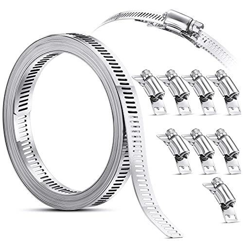 YEAJION Abrazadera de acero inoxidable 304 con elementos de fijación, ajustable, para tubo de bricolaje, abrazadera de tubo, abrazadera de canal, 11,5 Fuu