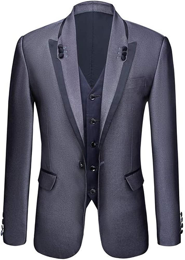 Men Suit Peak Lapel 3 PC(Jacket+Pants+Vest) Blazer Slim Fit Formal Business Wedding Grooms Tuxedo
