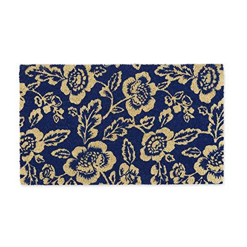 DII Indoor/Outdoor Natural Coir Fiber Spring/Summer Doormat, 18x30, Blue Peonies