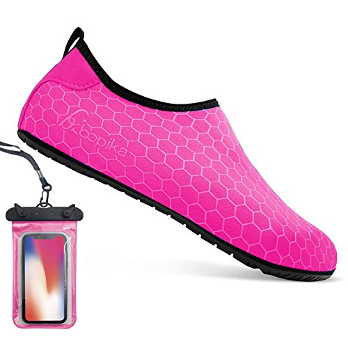 Water Socks Barefoot Shoes Water Sports Shoes Quick-Dry Aqua Yoga Socks for Women Men Kids (M: (Women:7.5-8.5/Men:6-7), FC-hot Pink)