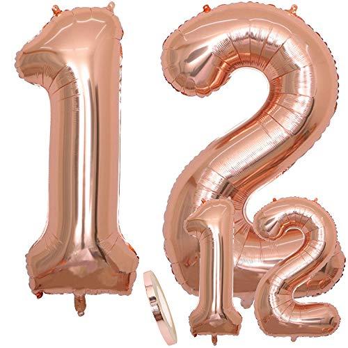 zooting Luftballons Zahl 12 Geburtstag XXL Rose Gold - Riesen Folienballon in 2 Größen 40