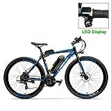 NYPB Bicicleta Eléctrica Adultos, Batería 36V 10AH/15AH/20AH E-Bike con Batería de Litio Desmontable Asiento Ajustable Motor 300W Libre Ejercítese y Viaje,Black Blue,36V 20AH