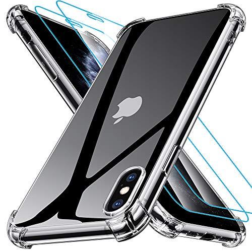 Joyguard Design für iPhone XS Hülle iPhone X Hülle mit 2 Stück Panzerglas Schutzfolie, Schock-Absorption Kompletter Schutz Kompatibel mit Handyhülle iPhone XS iPhone X – Klar