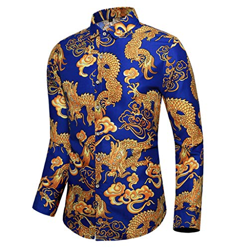 Camisa de Manga Larga para Hombre, diseño de dragón Estampado, para otoño, Camisa de Manga Larga, Informal, para Ocio, Fiesta, Negocios Azul M
