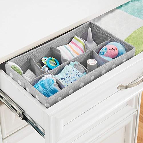 Gris Claro//Blanco Organizadores de armarios con 2 Compartimentos MetroDecor mDesign Caja de almacenaje para Habitaciones Infantiles o ba/ños Cestas organizadoras en Fibra sint/ética de Lunares