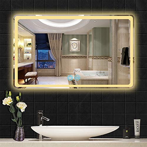 AYYEBO LED Regulable Iluminado Espejo Pared para Baño Espejo Vanidad Anti Niebla Luces Blancas/Cálidas Ajustables Rectangular para Sala Entrada (Size : 60x80cm)
