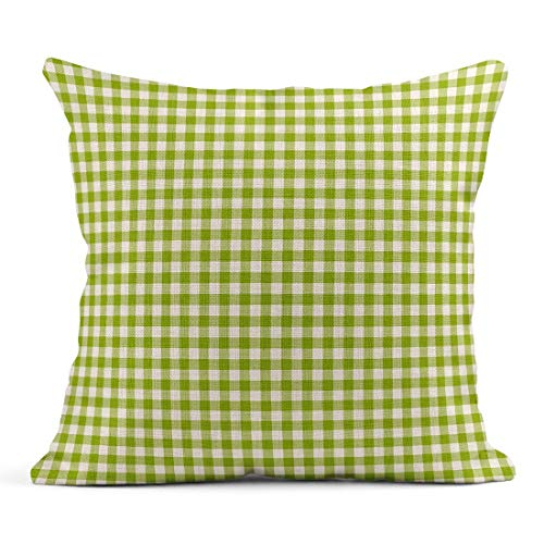 Kinhevao- Cojín Verde Patrón de Cuadros Vichy