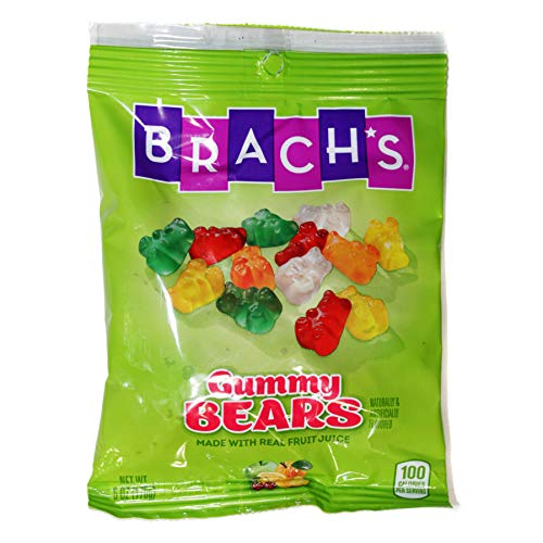 Brach#039s 1 Bag Gummy Bears  Fruit Flavored Candy Made With Real Fruit Juice  Cherry Orange Lemon Pineapple amp Green Apple Flavors  6 oz