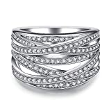 Double Fair Intertwined Crossover Statement Ring Wedding Bands for Women Micro Pave CZ Cocktails Size 5-10 (7)