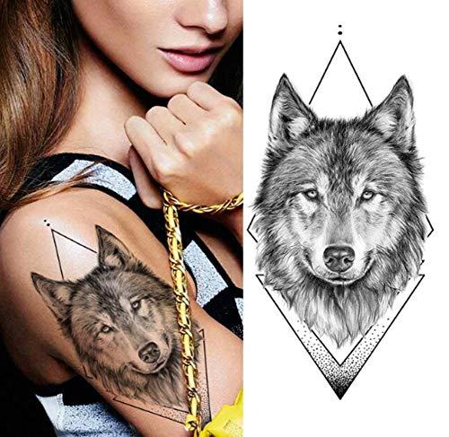 EROSPA® Tattoo-Bogen temporär/Sticker - Wolfskopf - Wasserfest - 19 x 9 cm