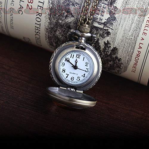 CAIDAI&YL Collar de caja de cristal marrón oscuro de bronce antiguo de cuarzo tamaño pequeño reloj de bolsillo cadena mujer señora hombres mejor regalo