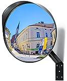 NOVAATO Espejo de seguridad - Espejo convexo, Curvatura de 130°, Resistente a la intemperie, Ajustable, Bisagra móvil, Vidrio acrílico, Policarbonato, Diámetro de 30 cm, Negro