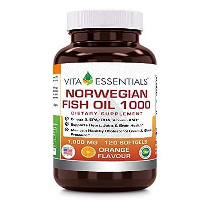 Vita Essentials Norwegian Fish Oil Orange Softgels, 1000 Mg, 120 Count