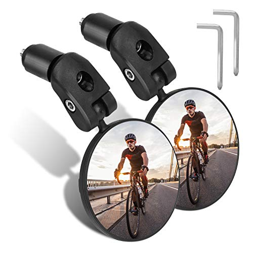 TAGVO Bar End Bike Mirrors, HD Wide Angle Bicycle Rear View Mirrors, 360 Dregree Adjustable Rotation Handlebar Convex Mirror for Mountain Road Bike Cycling (2 PCS)