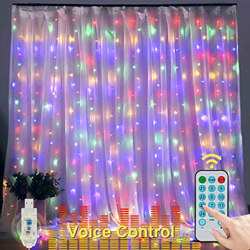 300 LED Voice Activated Curtain Lights, E-POWIND USB Powered Curtain String Lights, Multicolor Light Curtain, Fairy Lights Curtain for Bedroom Party Room Decor (9.8x9.8ft, No Curtain, with Remote)